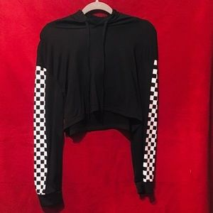 Black and white checkered cropped hoodie